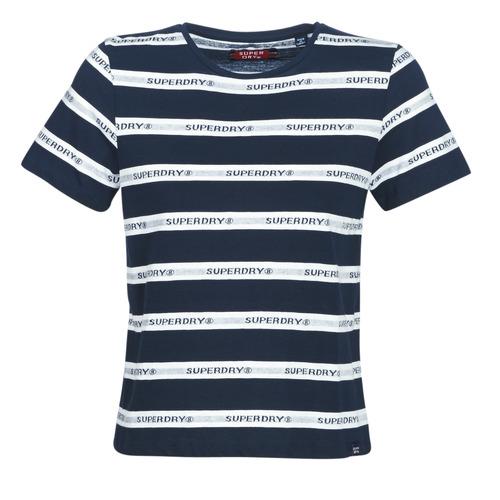 Odjeća Žene  Majice kratkih rukava Superdry COTE STRIPE TEXT TEE Blue