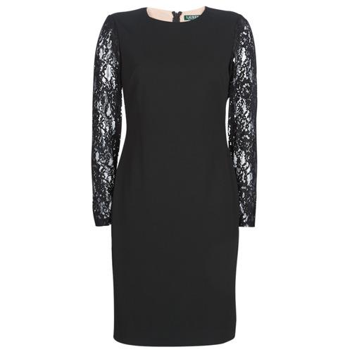 Odjeća Žene  Kratke haljine Lauren Ralph Lauren LACE PANEL JERSEY DRESS Crna
