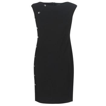 Odjeća Žene  Kratke haljine Lauren Ralph Lauren BUTTON-TRIM CREPE DRESS Crna