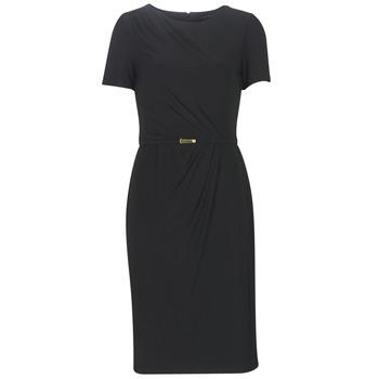 Odjeća Žene  Duge haljine Lauren Ralph Lauren BELTED SHORT SLEEVE DRESS Crna