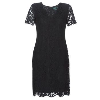 Odjeća Žene  Kratke haljine Lauren Ralph Lauren SCALLOPED LACE DRESS Crna