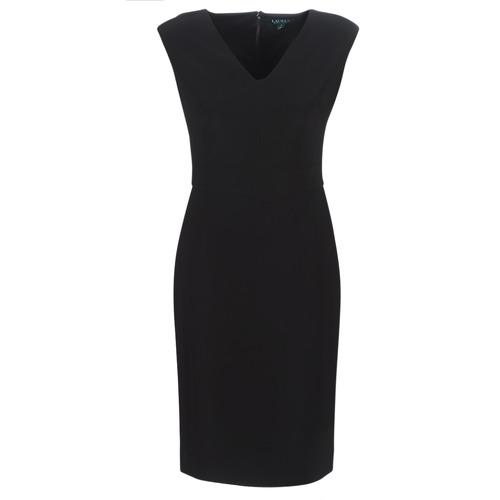 Odjeća Žene  Duge haljine Lauren Ralph Lauren BLACK CAP SLEEVE DAY DRESS Crna