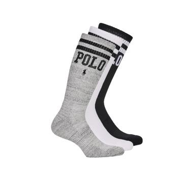 Modni dodaci Muškarci  Čarape Polo Ralph Lauren 3PK DBLE BAR-CREW-3 PACK Bijela / Siva / Crna