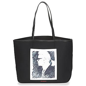 Torbe Shopper torbe Karl Lagerfeld KARL LEGEND CANVAS TOTE Crna