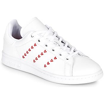 Obuća Djevojčica Niske tenisice adidas Originals STAN SMITH J Bijela / Red / Hart