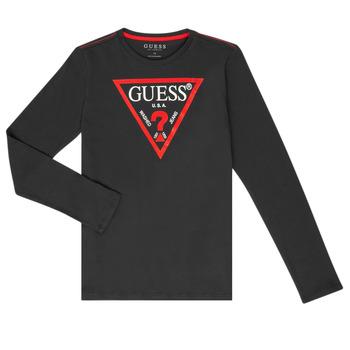 Odjeća Dječak  Majice dugih rukava Guess HERVE Crna