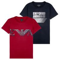 Odjeća Dječak  Majice kratkih rukava Emporio Armani 6H4D22-4J09Z-0353 Crna / Red