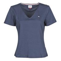Odjeća Žene  Majice kratkih rukava Tommy Jeans TJW SLIM JERSEY V NECK Blue