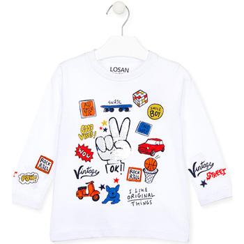 Odjeća Djeca Majice dugih rukava Losan 025-1026AL Bijela