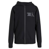 Odjeća Dječak  Sportske majice Calvin Klein Jeans HYBRID LOGO ZIP THROUGH Crna