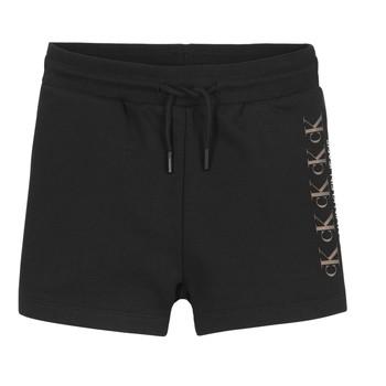 Odjeća Djevojčica Bermude i kratke hlače Calvin Klein Jeans CK REPEAT FOIL KNIT SHORTS Crna