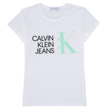Odjeća Djevojčica Majice kratkih rukava Calvin Klein Jeans HYBRID LOGO SLIM T-SHIRT Bijela