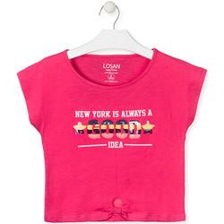 Odjeća Djevojčica Majice kratkih rukava Losan 014-1025AL Ružičasta