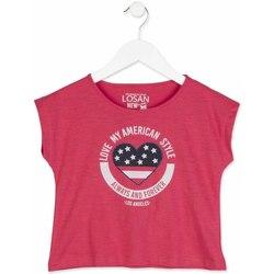 Odjeća Djevojčica Majice kratkih rukava Losan 814-1023AB Ružičasta