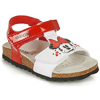 Obuća Djevojčica Sandale i polusandale Geox SANDAL CHALKI GIRL Red / Bijela