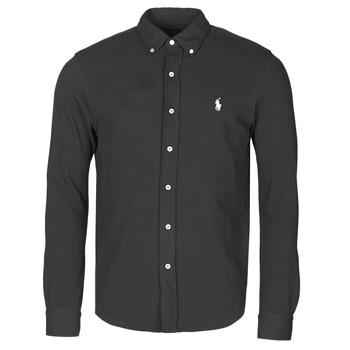 Odjeća Muškarci  Košulje dugih rukava Polo Ralph Lauren CHEMISE AJUSTEE COL BOUTONNE EN POLO FEATHERWEIGHT LOGO PONY PLA Crna