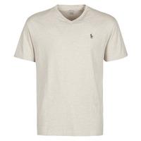 Odjeća Muškarci  Majice kratkih rukava Polo Ralph Lauren T-SHIRT AJUSTE COL V EN COTON LOGO PONY PLAYER Bež
