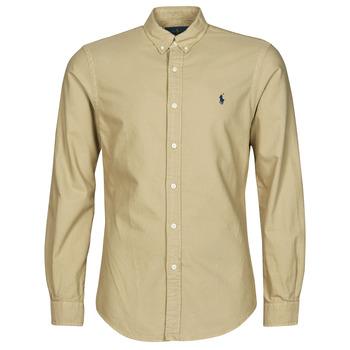 Odjeća Muškarci  Košulje dugih rukava Polo Ralph Lauren CHEMISE CINTREE SLIM FIT EN OXFORD LEGER TYPE CHINO COL BOUTONNE Bež