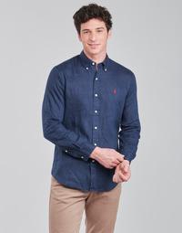 Odjeća Muškarci  Košulje dugih rukava Polo Ralph Lauren CHEMISE AJUSTEE EN LIN COL BOUTONNE  LOGO PONY PLAYER Blue