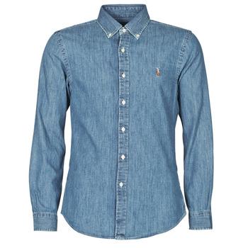 Odjeća Muškarci  Košulje dugih rukava Polo Ralph Lauren CHEMISE CINTREE SLIM FIT EN JEAN DENIM BOUTONNE LOGO PONY PLAYER Blue