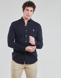 Odjeća Muškarci  Košulje dugih rukava Polo Ralph Lauren CHEMISE AJUSTEE COL BOUTONNE EN POLO FEATHERWEIGHT LOGO PONY PLA Blue