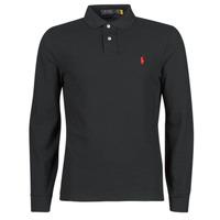 Odjeća Muškarci  Polo majice dugih rukava Polo Ralph Lauren POLO AJUSTE DROIT EN COTON BASIC MESH LOGO PONY PLAYER Crna