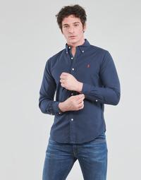 Odjeća Muškarci  Košulje dugih rukava Polo Ralph Lauren CHEMISE CINTREE SLIM FIT EN OXFORD LEGER TYPE CHINO COL BOUTONNE Blue