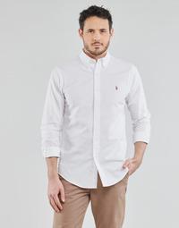 Odjeća Muškarci  Košulje dugih rukava Polo Ralph Lauren CHEMISE AJUSTEE EN OXFORD COL BOUTONNE  LOGO PONY PLAYER MULTICO Bijela