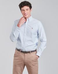 Odjeća Muškarci  Košulje dugih rukava Polo Ralph Lauren CHEMISE AJUSTEE EN OXFORD COL BOUTONNE  LOGO PONY PLAYER MULTICO Blue / Bijela