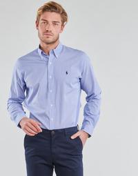 Odjeća Muškarci  Košulje dugih rukava Polo Ralph Lauren CHEMISE AJUSTEE EN POPLINE DE COTON COL BOUTONNE  LOGO PONY PLAY Blue / Bijela