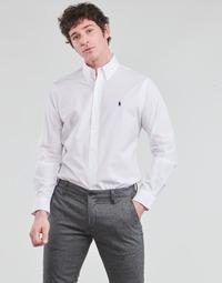 Odjeća Muškarci  Košulje dugih rukava Polo Ralph Lauren CHEMISE AJUSTEE EN POPLINE DE COTON COL BOUTONNE  LOGO PONY PLAY Bijela