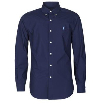 Odjeća Muškarci  Košulje dugih rukava Polo Ralph Lauren CHEMISE AJUSTEE EN POPLINE DE COTON COL BOUTONNE  LOGO PONY PLAY Blue