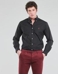 Odjeća Muškarci  Košulje dugih rukava Polo Ralph Lauren CHEMISE AJUSTEE EN POPLINE DE COTON COL BOUTONNE  LOGO PONY PLAY Crna