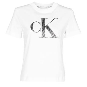 Odjeća Žene  Majice kratkih rukava Calvin Klein Jeans SATIN BONDED FILLED CK TEE Bijela