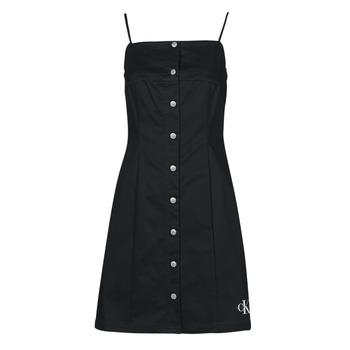 Odjeća Žene  Kratke haljine Calvin Klein Jeans COTTON TWILL BUTTON DRESS Crna