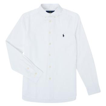 Odjeća Dječak  Košulje dugih rukava Polo Ralph Lauren TOUNIA Bijela