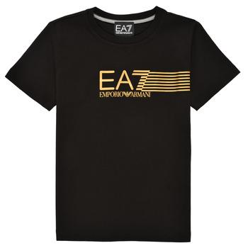 Odjeća Dječak  Majice kratkih rukava Emporio Armani EA7 3KBT54-BJ02Z-1200 Crna / Gold