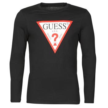 Odjeća Muškarci  Majice dugih rukava Guess CN LS ORIGINAL LOGO TEE Crna
