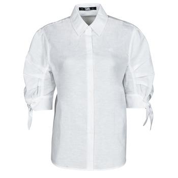 Odjeća Žene  Košulje i bluze Karl Lagerfeld LINENSHIRTW/BOWS Bijela