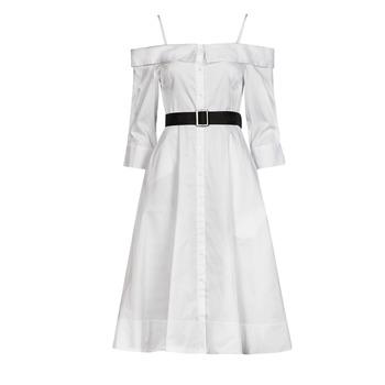 Odjeća Žene  Duge haljine Karl Lagerfeld COLDSHOULDERSHIRTDRESS Bijela