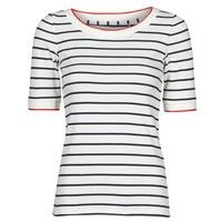 Odjeća Žene  Majice kratkih rukava Esprit RAYURES COL ROUGE Bijela