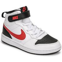 Obuća Dječak  Niske tenisice Nike NIKE COURT BOROUGH MID 2 Bijela / Red / Crna