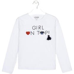 Odjeća Djeca Majice dugih rukava Losan 024-1021AL Bijela