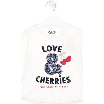 Odjeća Djevojčica Majice dugih rukava Losan 026-1022AL Bijela
