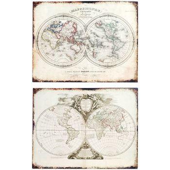 Dom Slike i platna Signes Grimalt Zidna ploča karte SET 2 U Beige