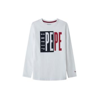 Odjeća Dječak  Majice dugih rukava Pepe jeans AARON Bijela