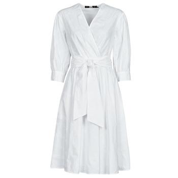 Odjeća Žene  Kratke haljine Karl Lagerfeld LOGO EMROIDERED SHIRT DRESS Bijela