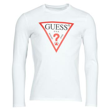 Odjeća Muškarci  Majice dugih rukava Guess CN LS ORIGINAL LOGO TEE Bijela
