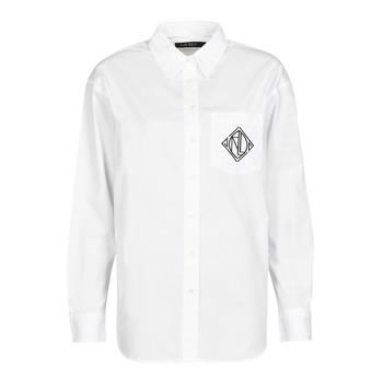 Odjeća Žene  Košulje i bluze Lauren Ralph Lauren BRAWLEY-LONG SLEEVE-BUTTON FRONT SHIRT Bijela