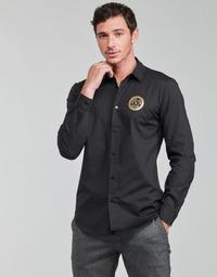 Odjeća Muškarci  Košulje dugih rukava Versace Jeans Couture SLIM PRINT V EMBLEM GOLD Crna / Gold